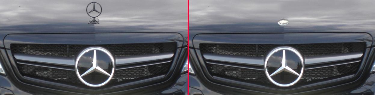 Emblem, Abdeckung Mercedes Benz Stern, Logo, Motorhaube.